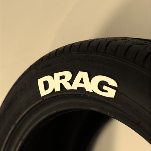 "White ""Drag"" tire graphics"