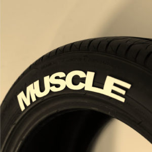 White MUSCLE TIre Graphic