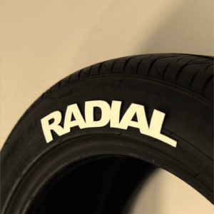 """WHITE """"RADIAL"""" TIRE GRAPHICS"""