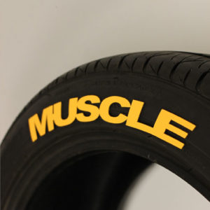 Yellow MUSCLE Tire Graphic