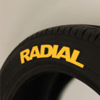 "Yellow ""RADIAL"" tire graphics"