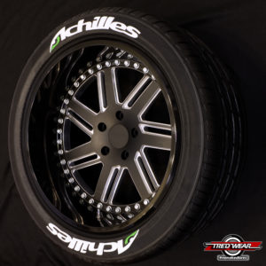 White ACHILLES Tire Kits with green accent